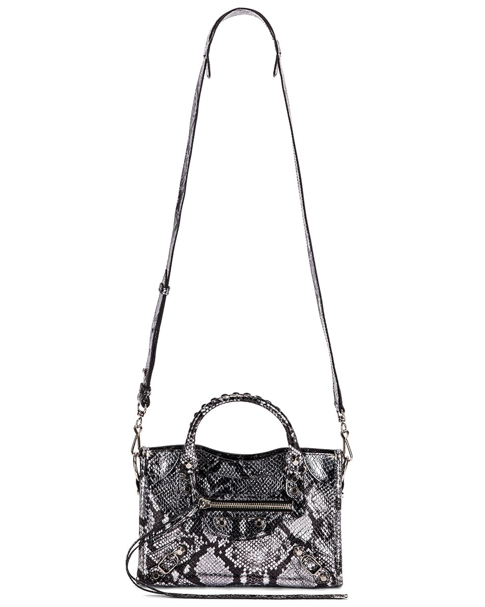Image 6 of Balenciaga Mini Printed Python City Bag in Silver