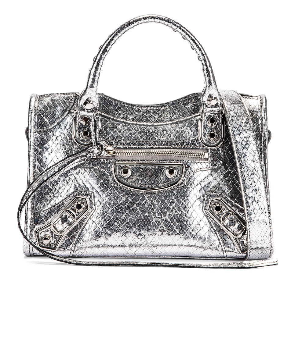 Image 1 of Balenciaga Mini Embossed Python City Bag in Silver