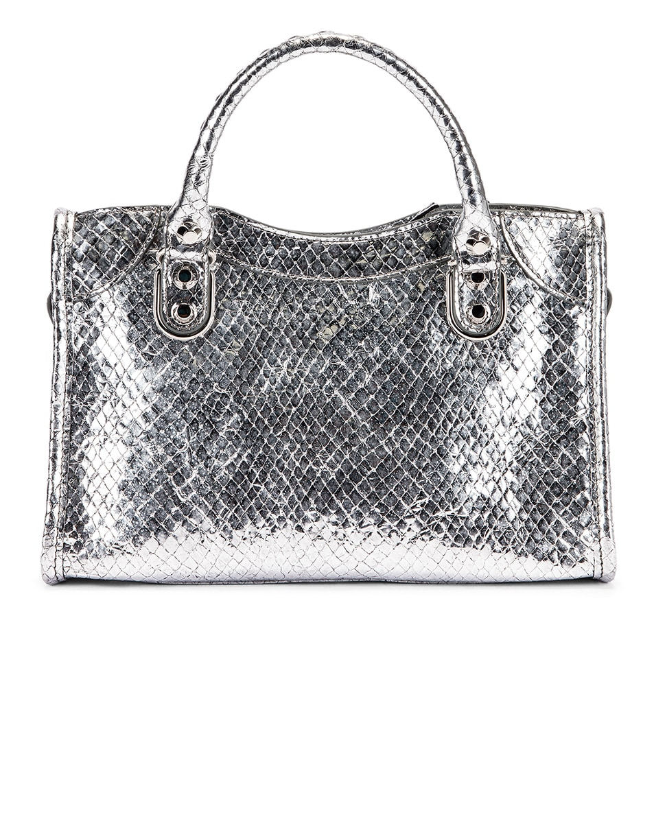 Image 3 of Balenciaga Mini Embossed Python City Bag in Silver