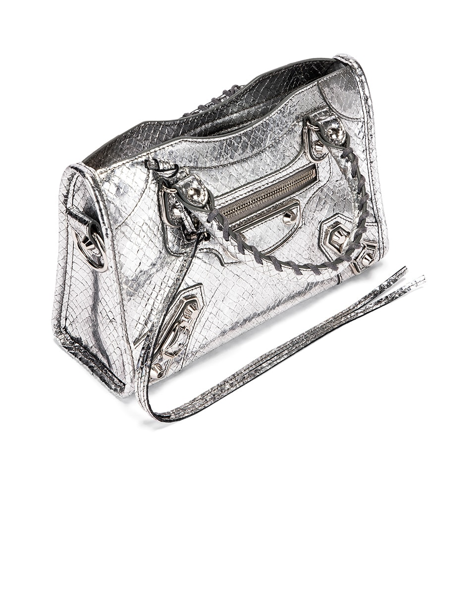 Image 5 of Balenciaga Mini Embossed Python City Bag in Silver