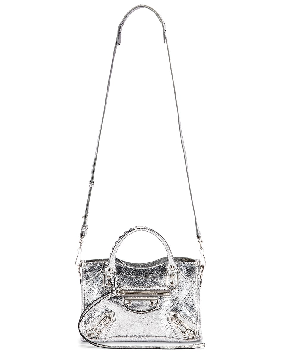 Image 6 of Balenciaga Mini Embossed Python City Bag in Silver