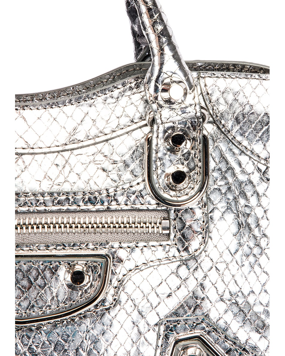 Image 8 of Balenciaga Mini Embossed Python City Bag in Silver