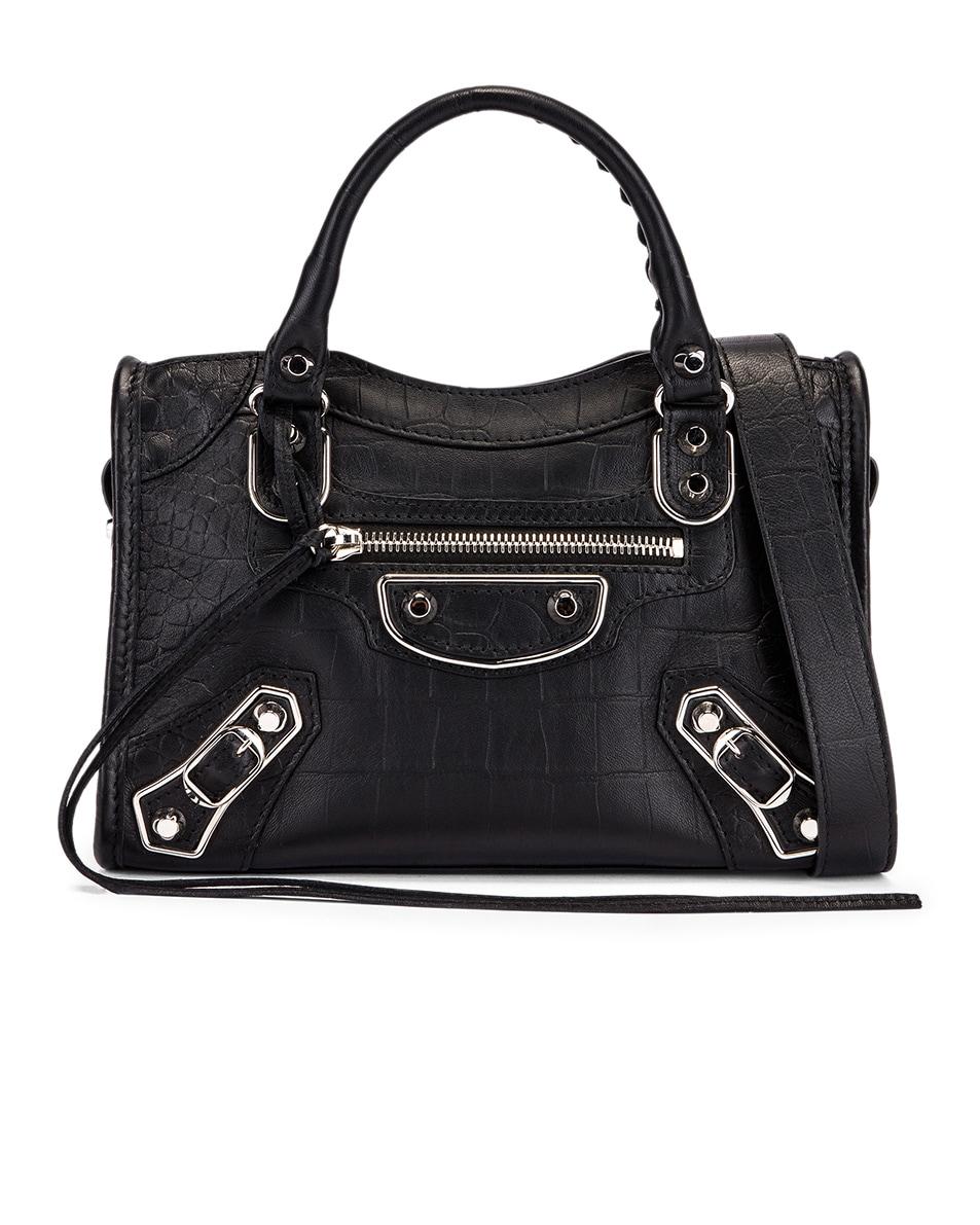 Image 1 of Balenciaga Mini Embossed Croc City Bag in Black