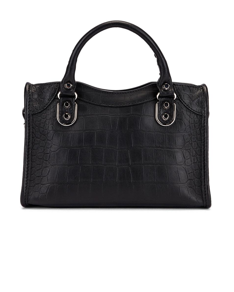 Image 3 of Balenciaga Mini Embossed Croc City Bag in Black