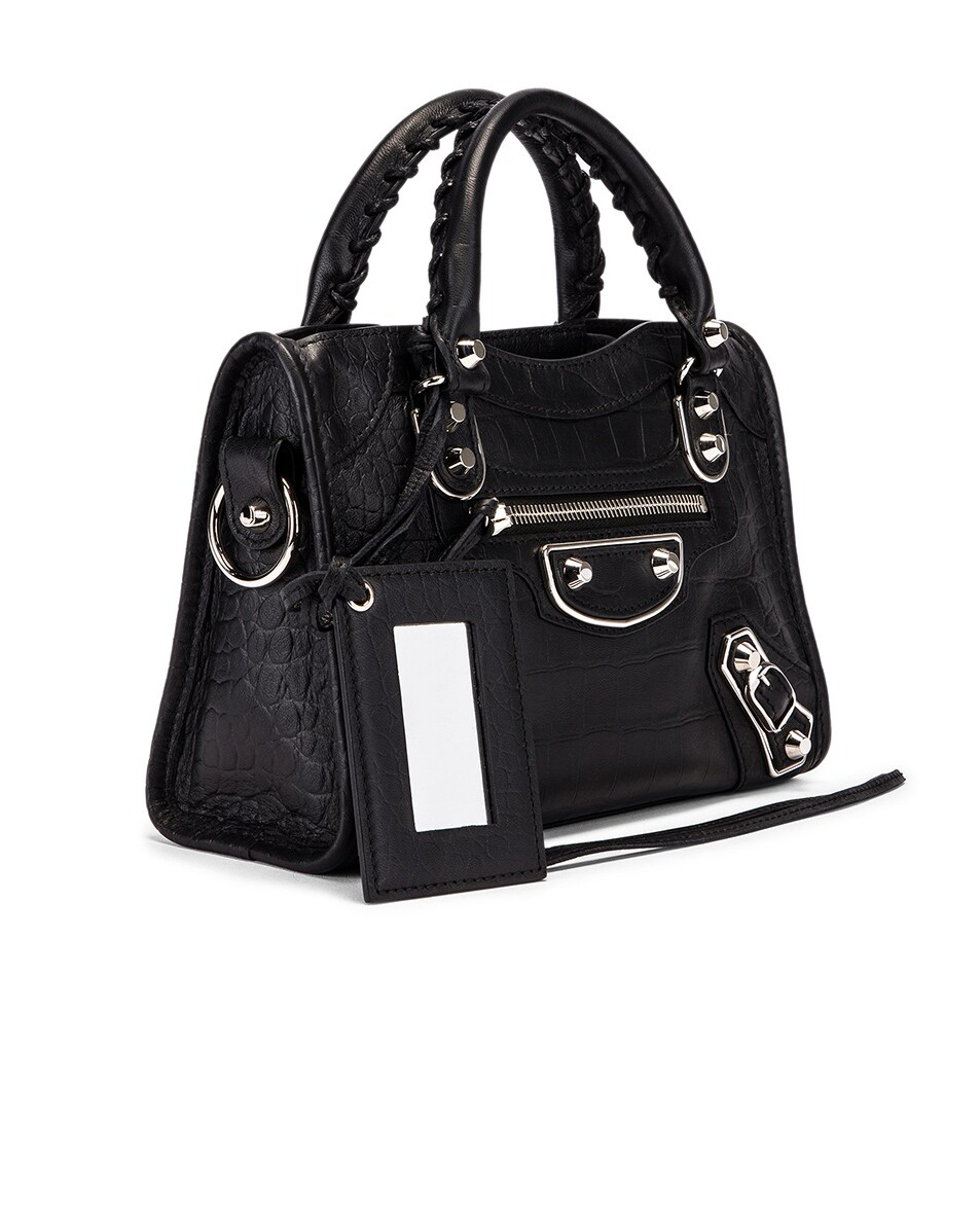 Image 4 of Balenciaga Mini Embossed Croc City Bag in Black