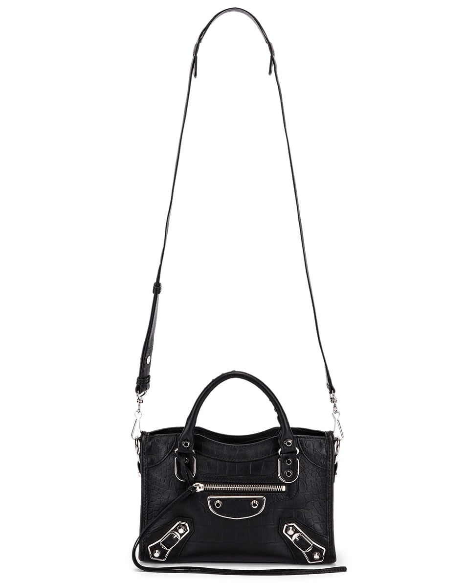 Image 6 of Balenciaga Mini Embossed Croc City Bag in Black