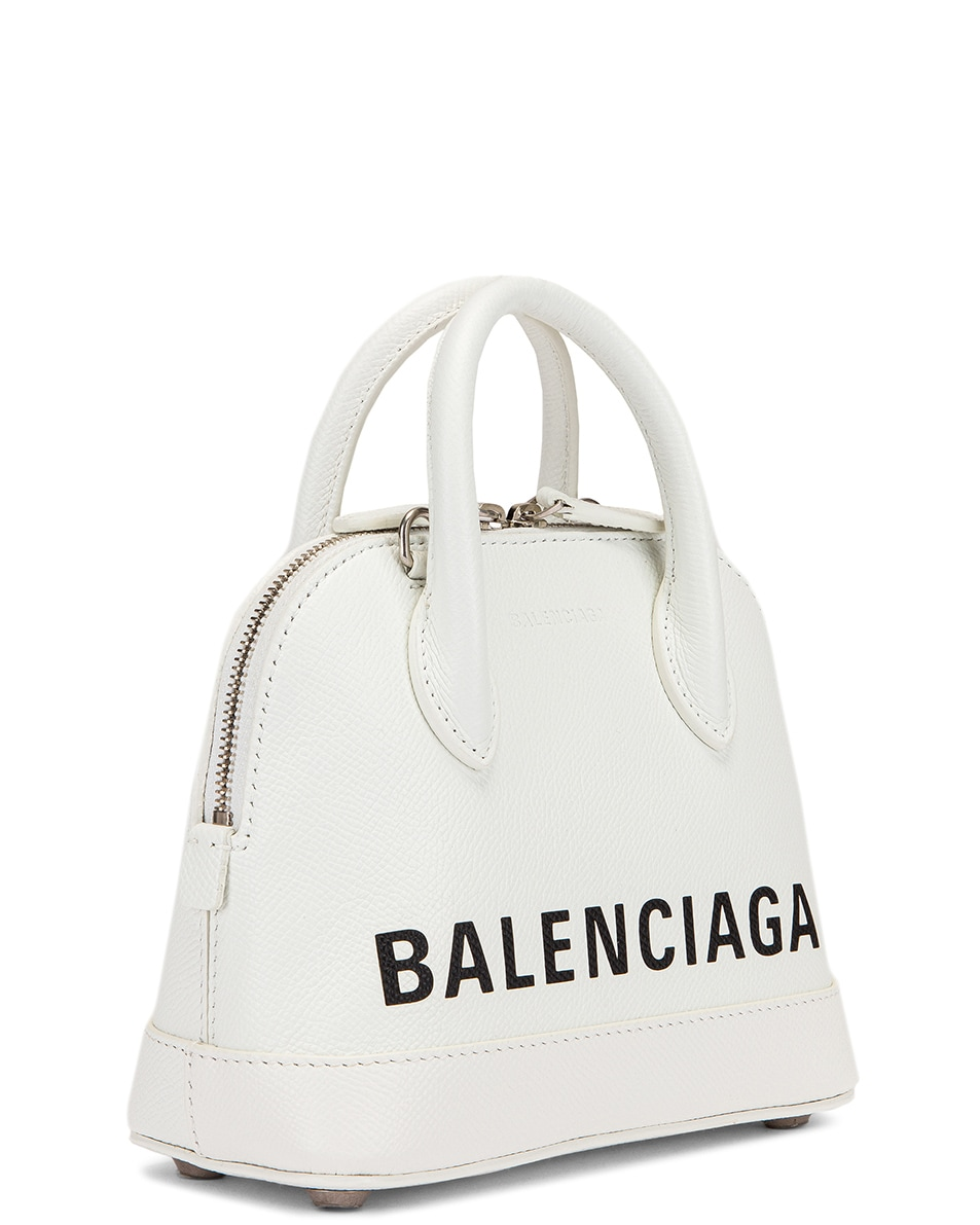 Image 4 of Balenciaga XXS Ville Top Handle Bag in White & Black