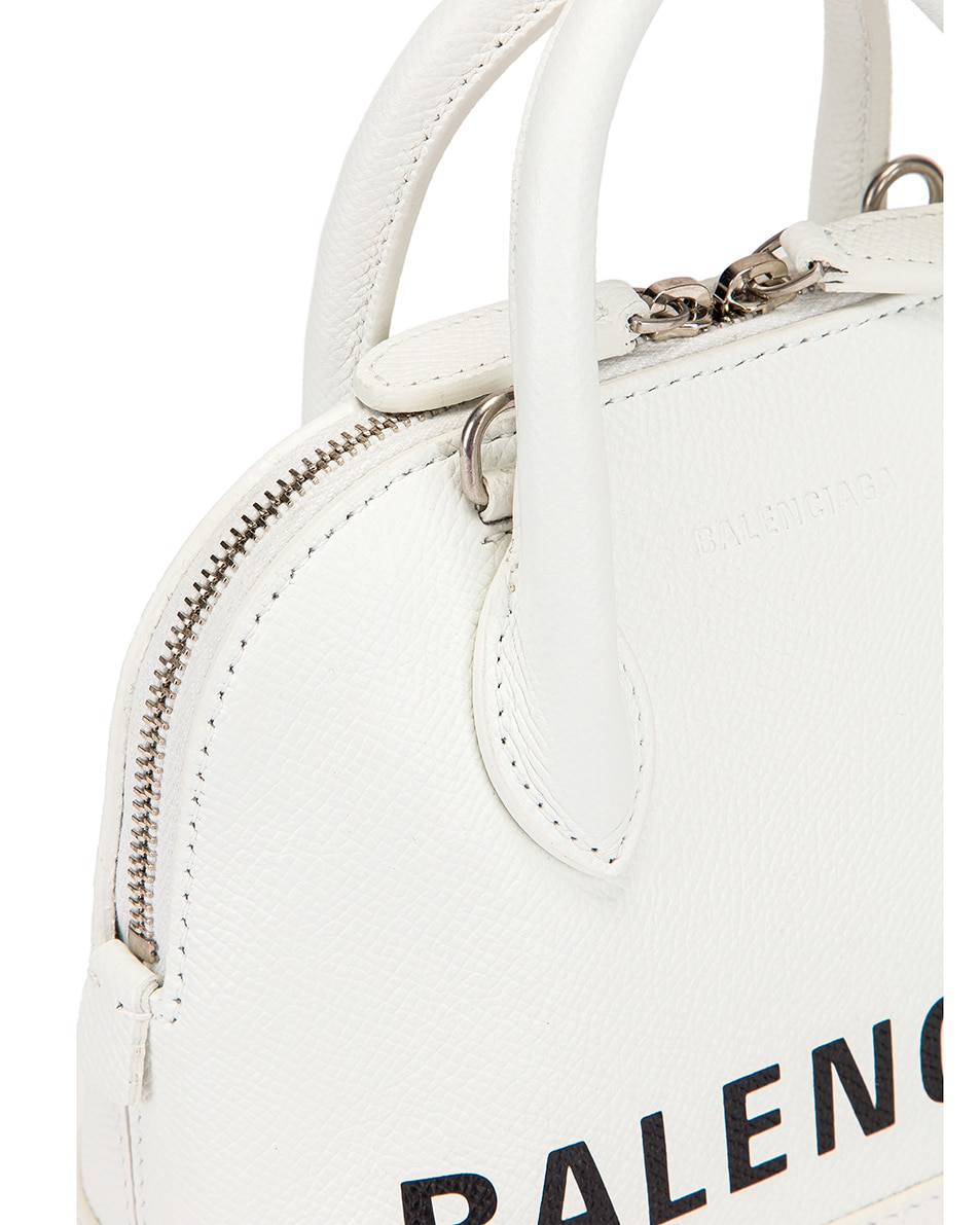 Image 8 of Balenciaga XXS Ville Top Handle Bag in White & Black