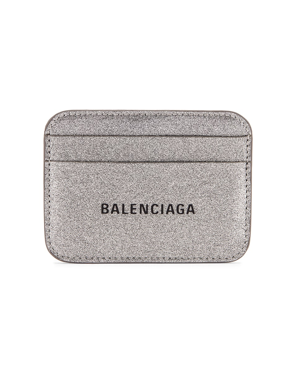 Image 1 of Balenciaga Glitter BB Card Holder in Dark Silver & Black