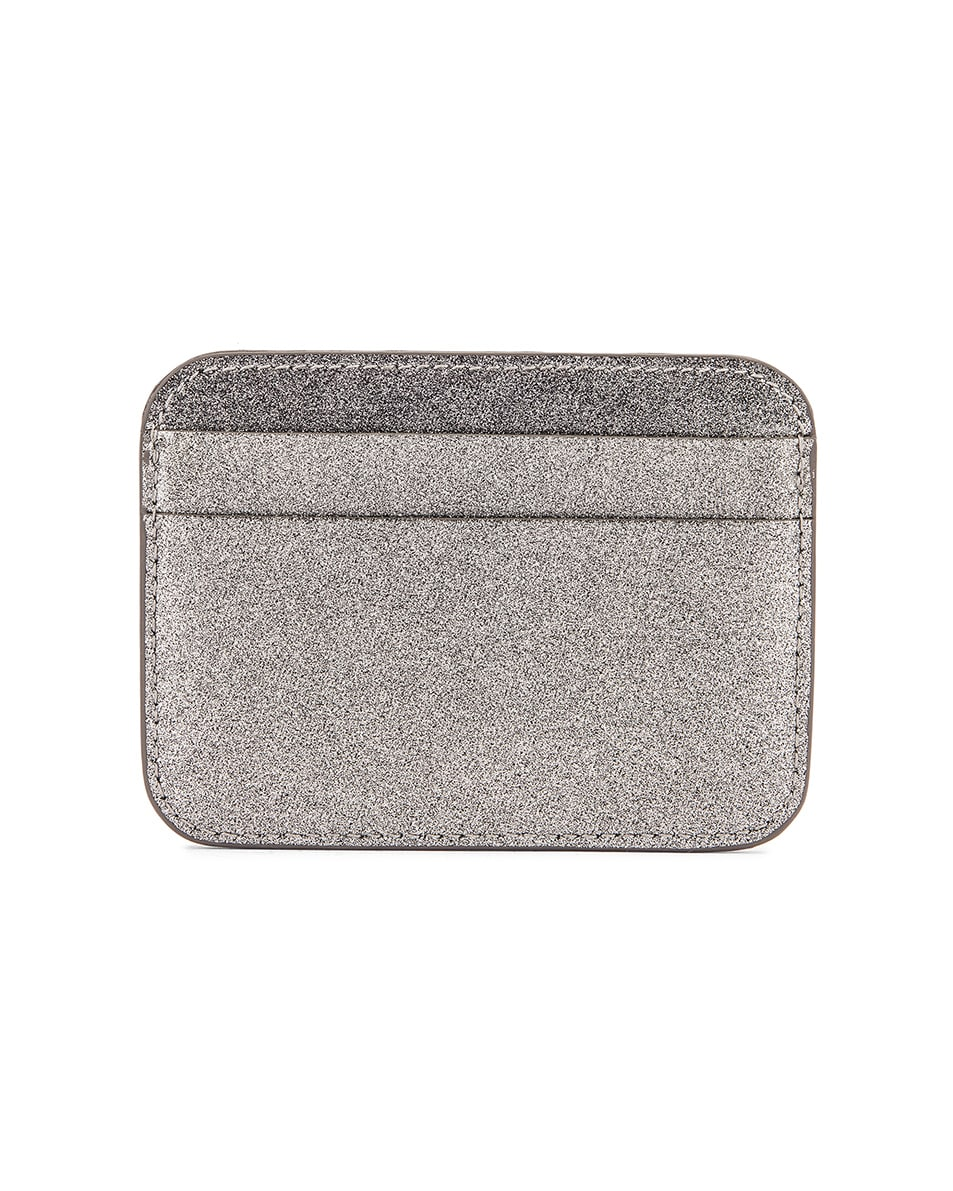 Image 2 of Balenciaga Glitter BB Card Holder in Dark Silver & Black