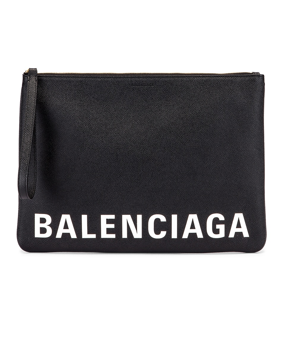 Image 1 of Balenciaga Cash Logo Pouch in Black & White