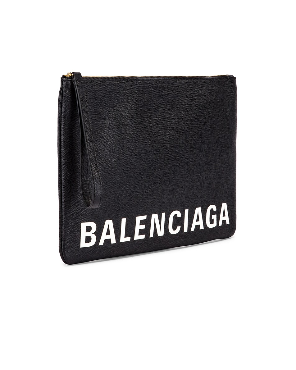 Image 4 of Balenciaga Cash Logo Pouch in Black & White