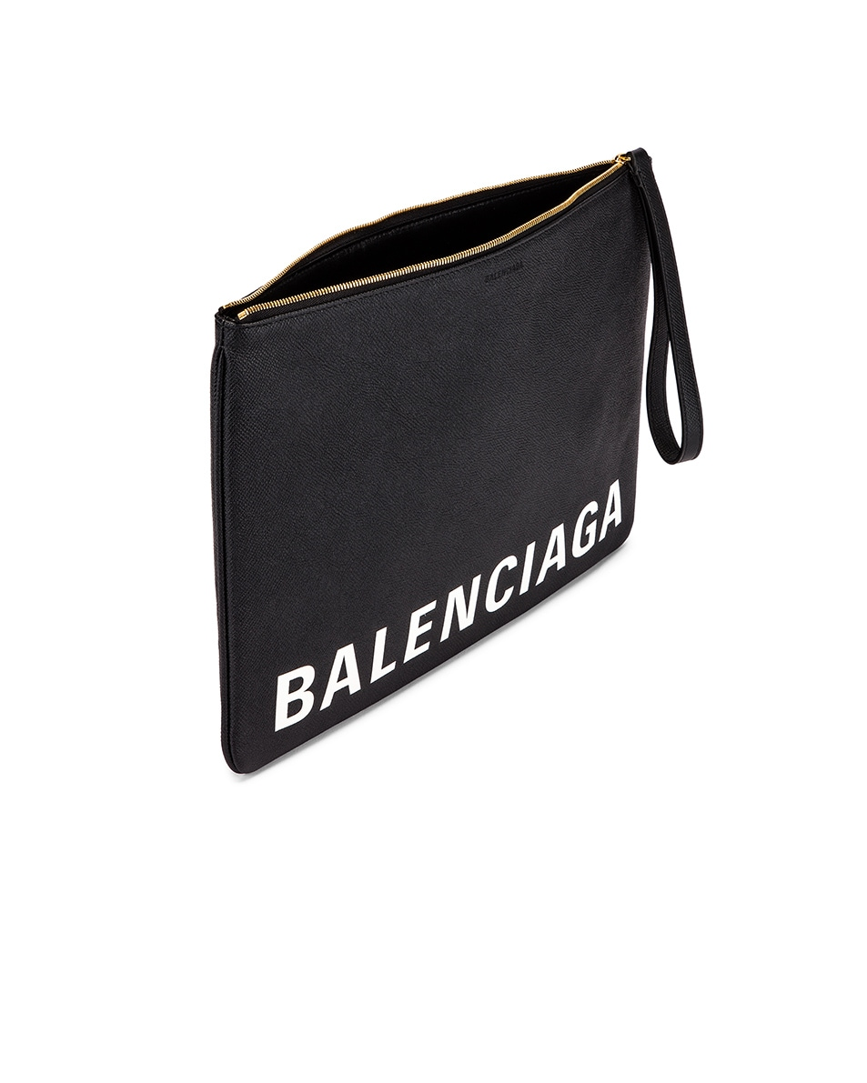 Image 5 of Balenciaga Cash Logo Pouch in Black & White