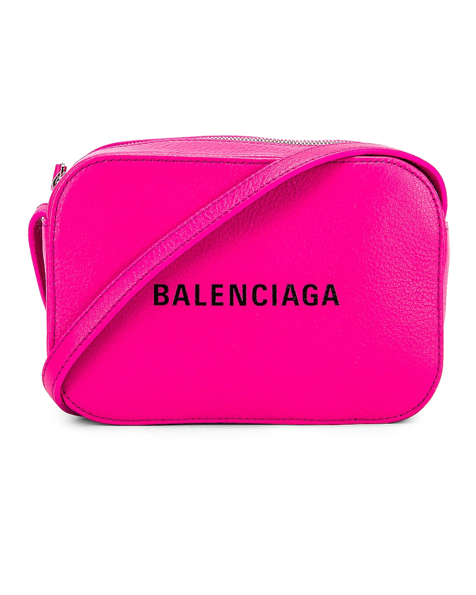 Image 1 of Balenciaga XS Logo Camera Bag in Acid Fuchsia & Black