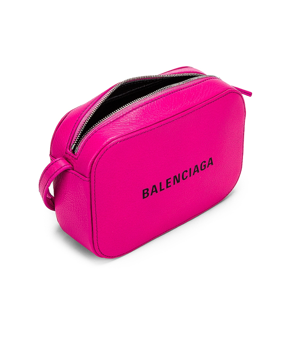 Image 5 of Balenciaga XS Logo Camera Bag in Acid Fuchsia & Black
