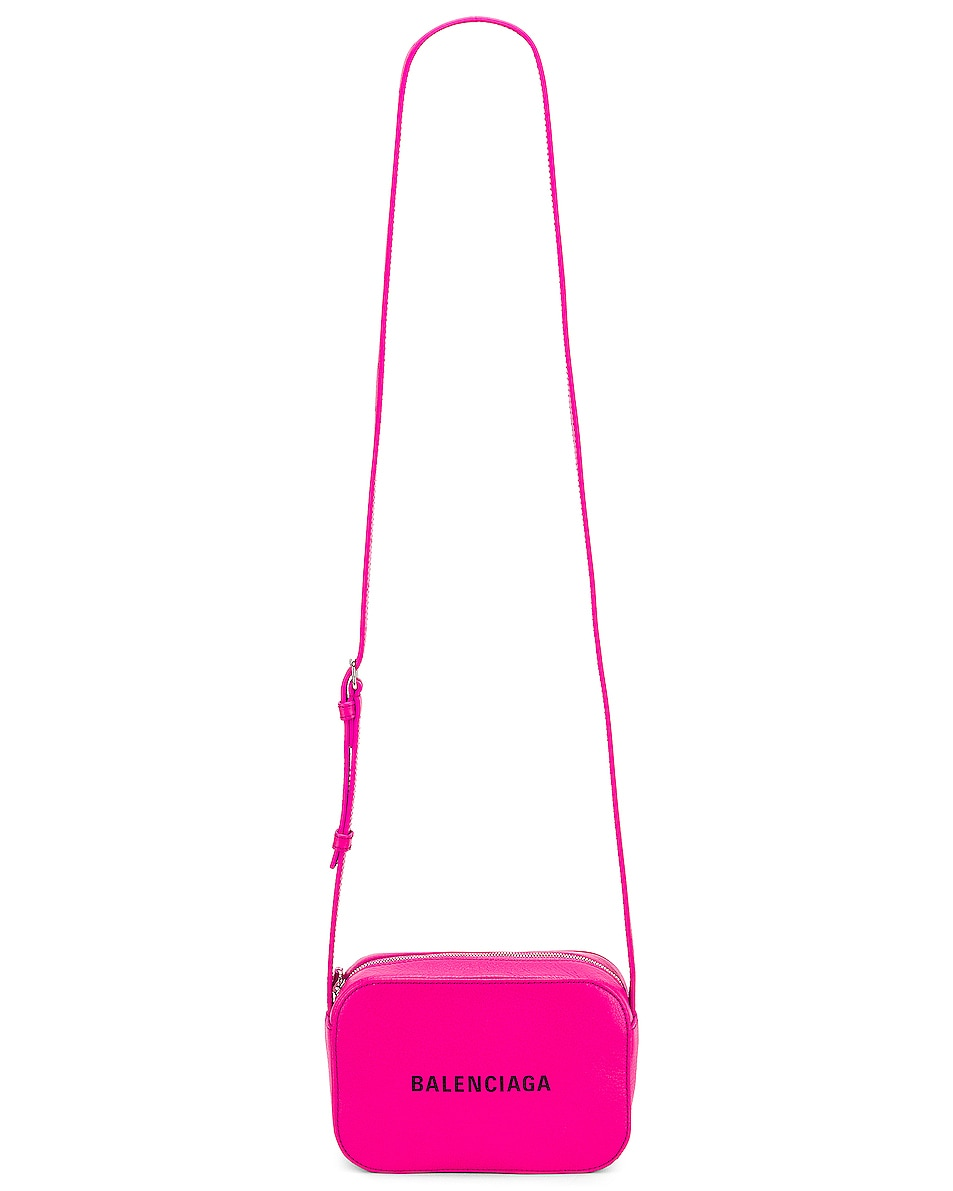 Image 6 of Balenciaga XS Logo Camera Bag in Acid Fuchsia & Black