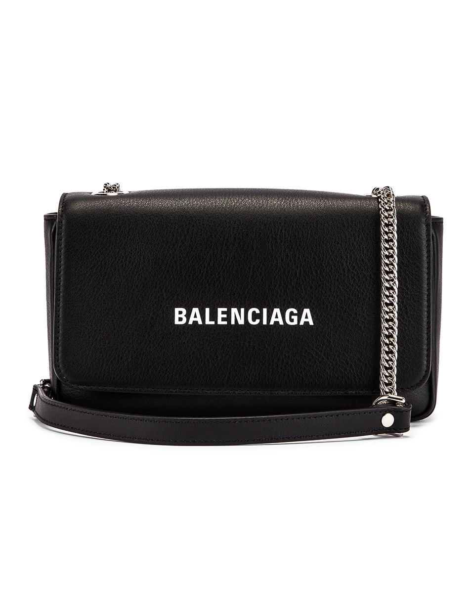 Image 1 of Balenciaga Everyday Wallet on Chain Bag in Black & White