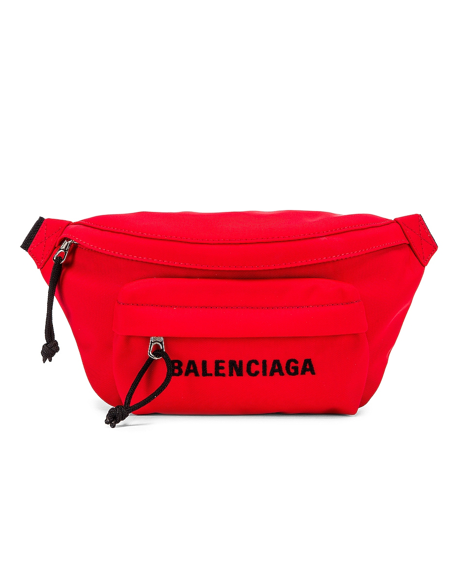 Image 1 of Balenciaga S Wheel Logo Belt Bag in Bright Red & Black