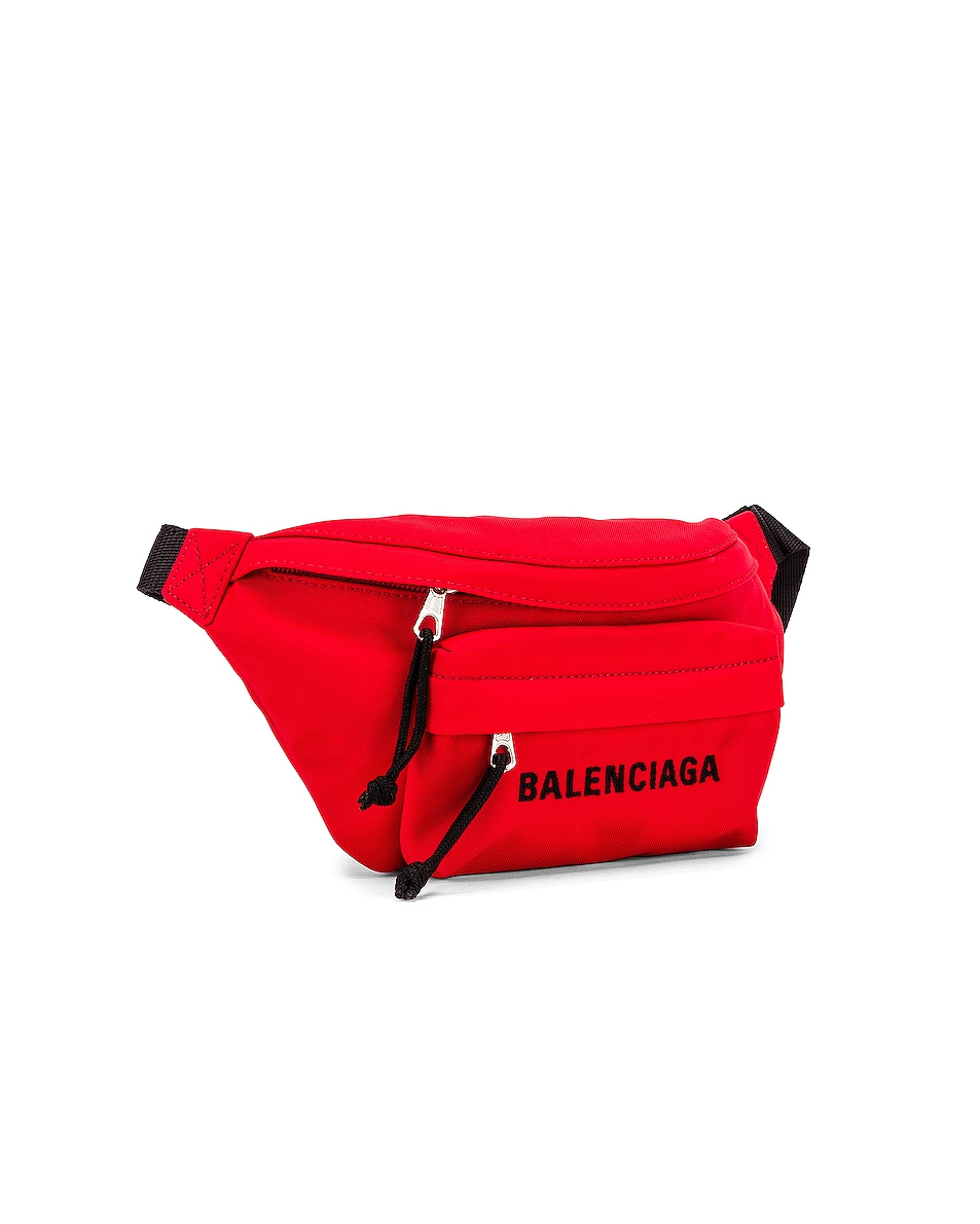 Image 4 of Balenciaga S Wheel Logo Belt Bag in Bright Red & Black