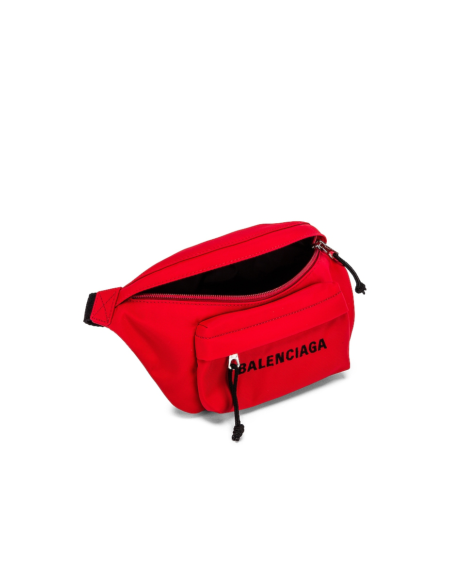 Image 5 of Balenciaga S Wheel Logo Belt Bag in Bright Red & Black