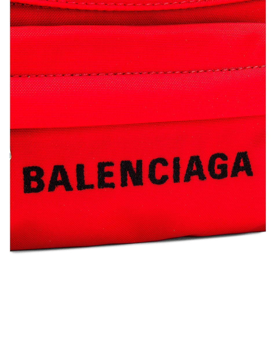 Image 7 of Balenciaga S Wheel Logo Belt Bag in Bright Red & Black