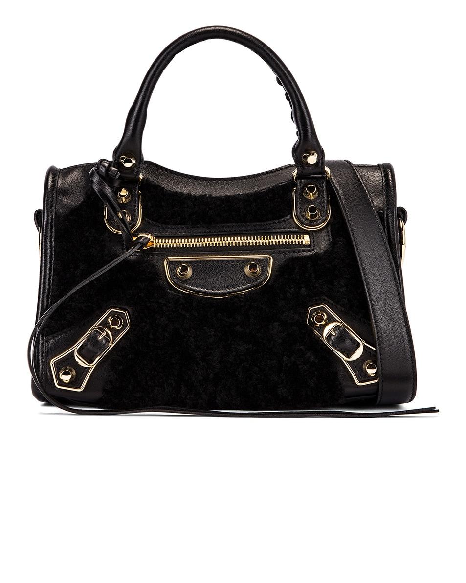 Image 1 of Balenciaga Mini Shearling & Leather City Bag in Black