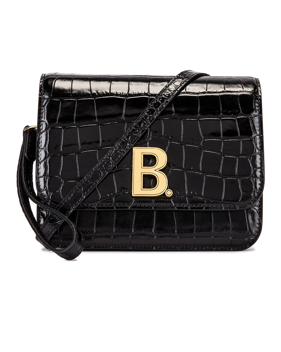 Image 1 of Balenciaga Small Embossed Croc B Bag in Black