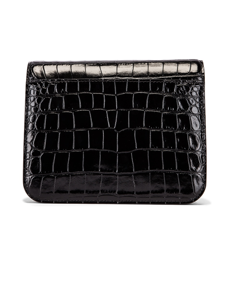 Image 3 of Balenciaga Small Embossed Croc B Bag in Black