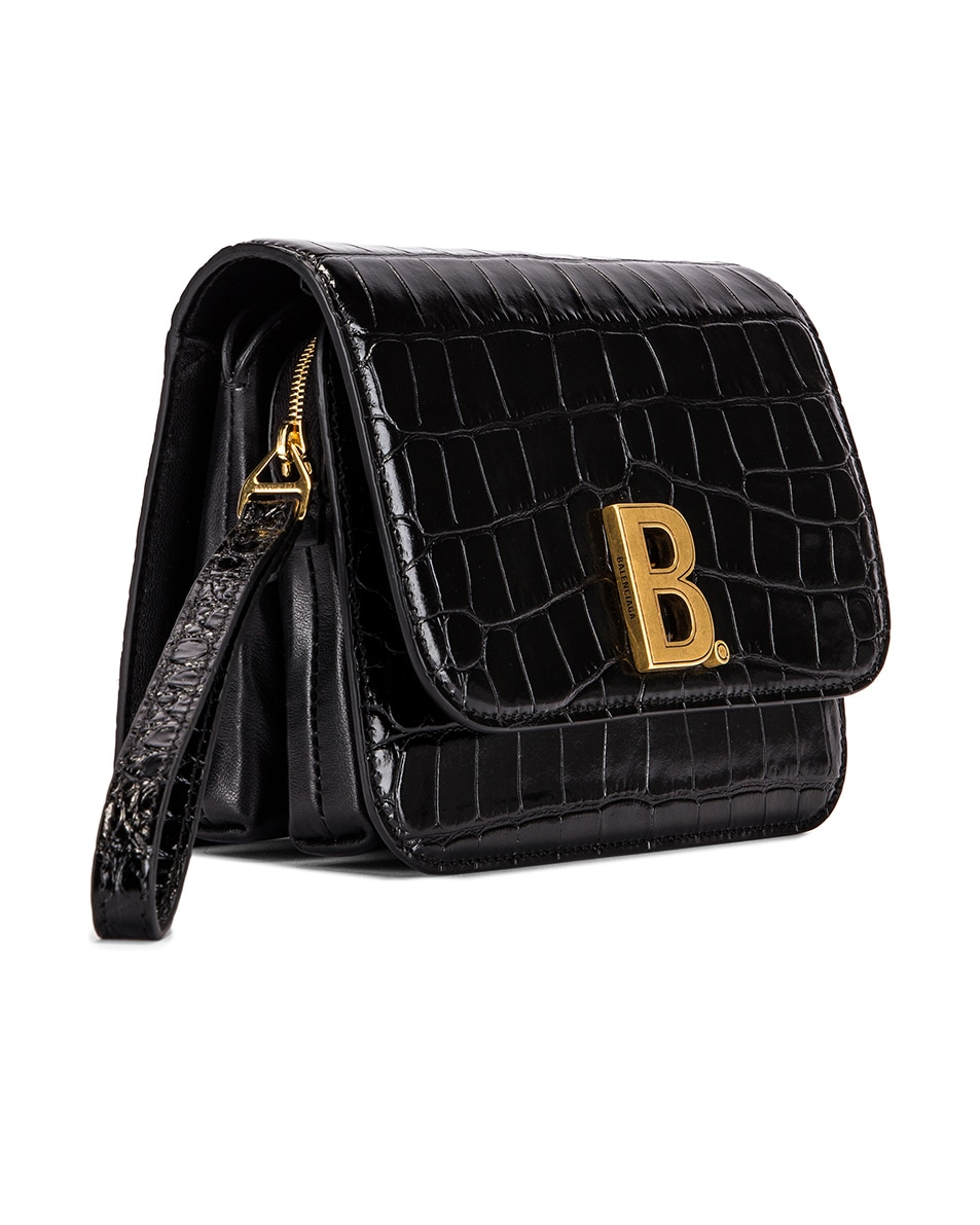 Image 4 of Balenciaga Small Embossed Croc B Bag in Black