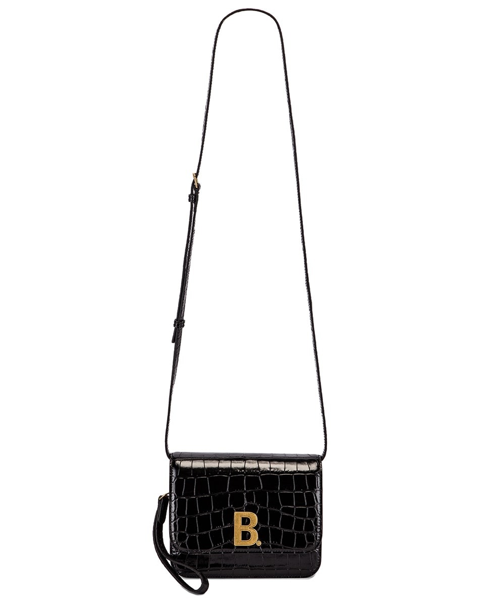 Image 6 of Balenciaga Small Embossed Croc B Bag in Black