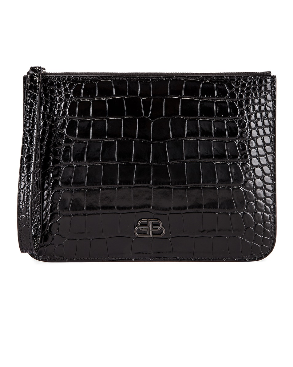 Image 1 of Balenciaga BB Embossed Croc Handle Pouch in Black