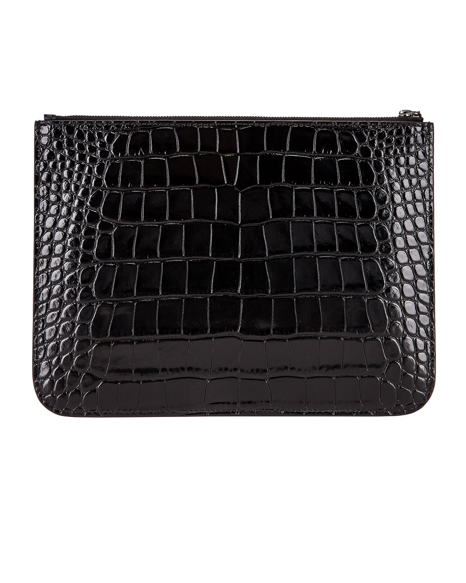 Image 3 of Balenciaga BB Embossed Croc Handle Pouch in Black