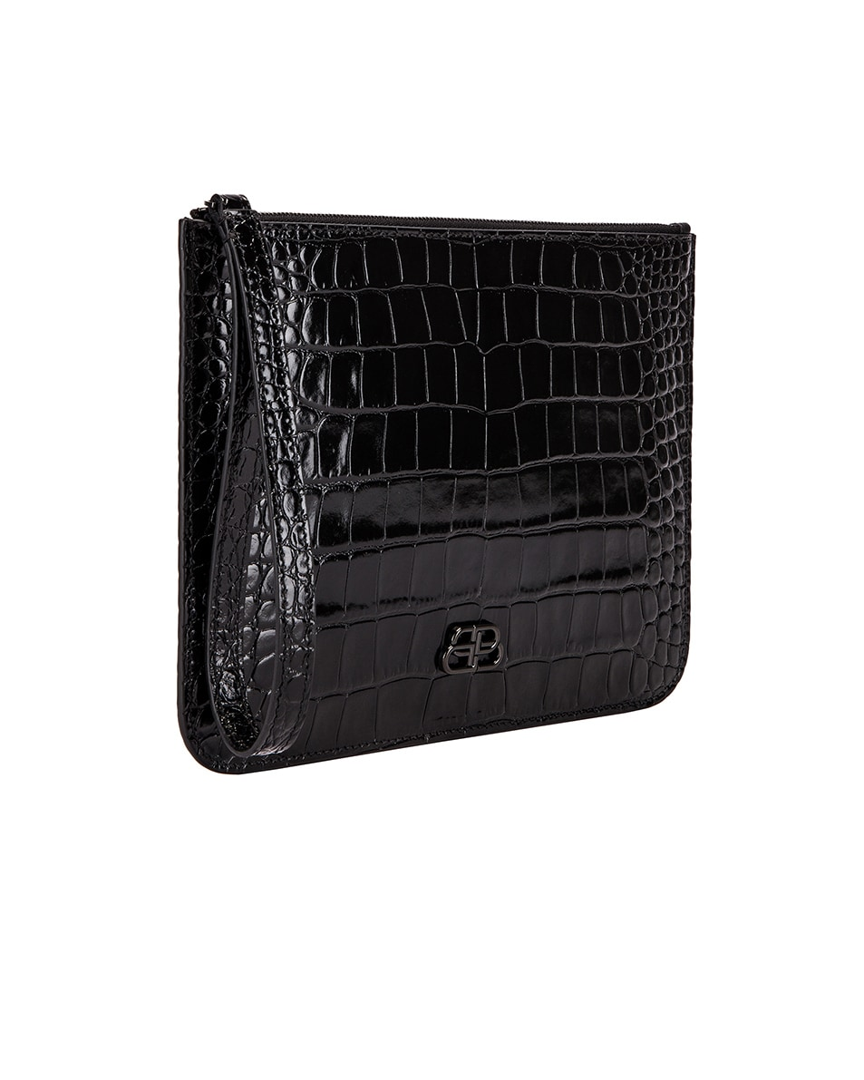 Image 4 of Balenciaga BB Embossed Croc Handle Pouch in Black