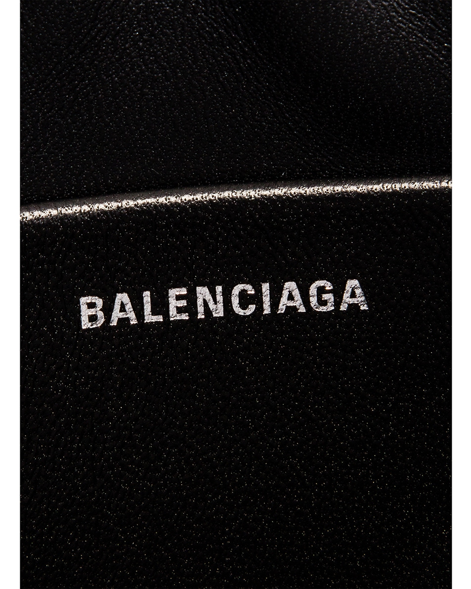 Image 6 of Balenciaga BB Embossed Croc Handle Pouch in Black