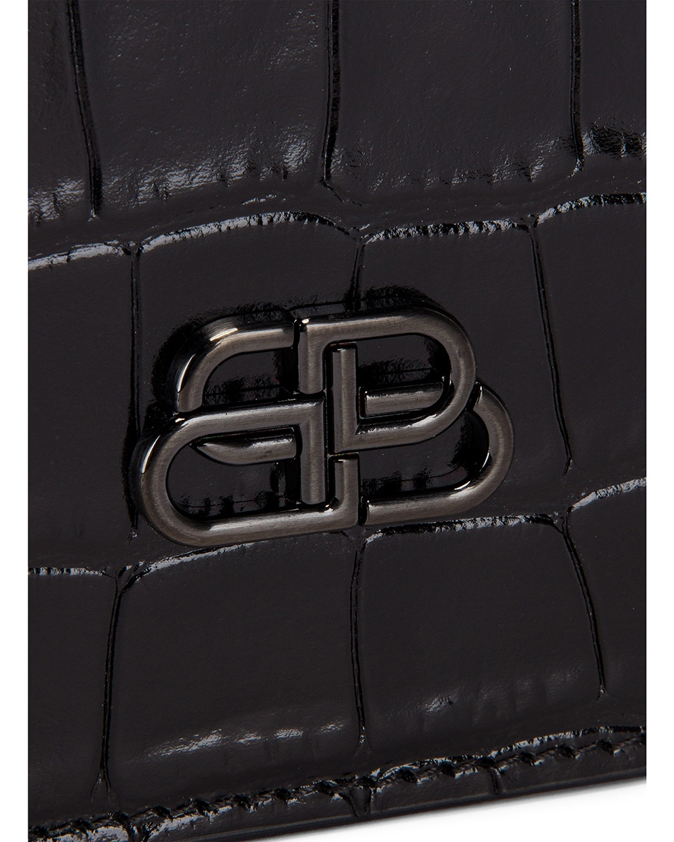 Image 7 of Balenciaga BB Embossed Croc Handle Pouch in Black