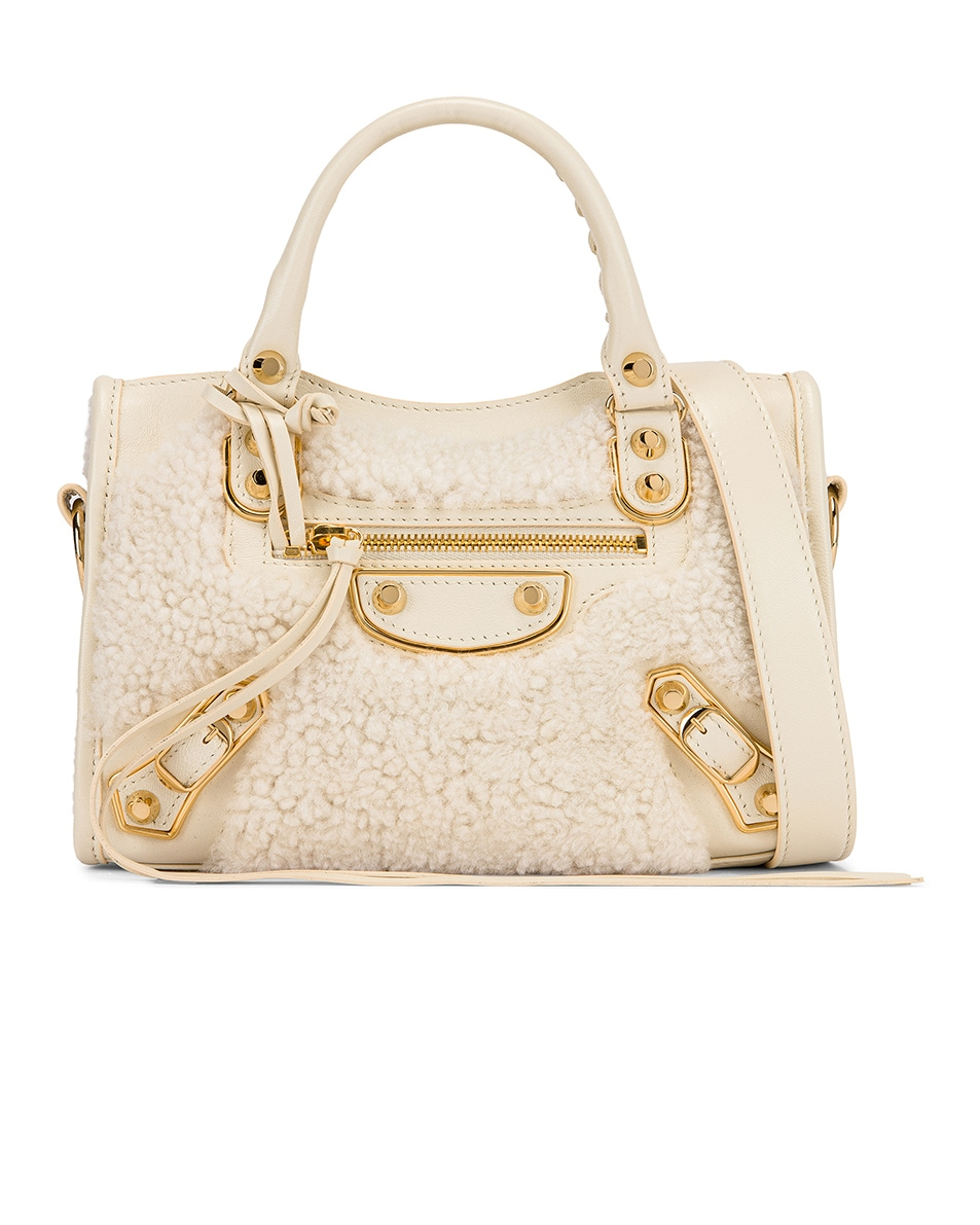 Image 1 of Balenciaga Mini Shearling & Leather City Bag in Cream