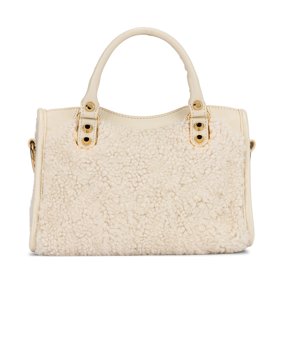 Image 3 of Balenciaga Mini Shearling & Leather City Bag in Cream