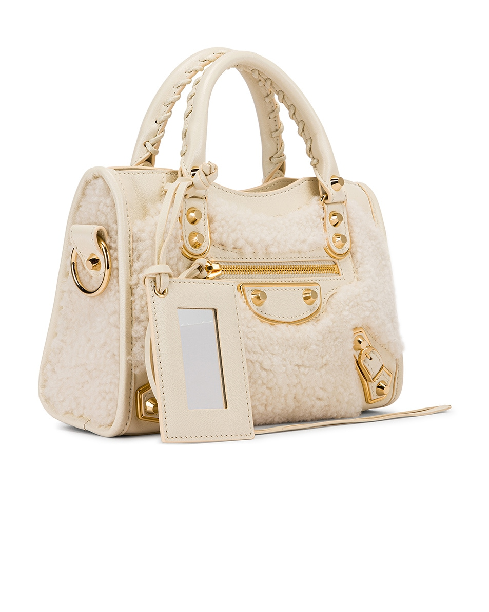 Image 4 of Balenciaga Mini Shearling & Leather City Bag in Cream