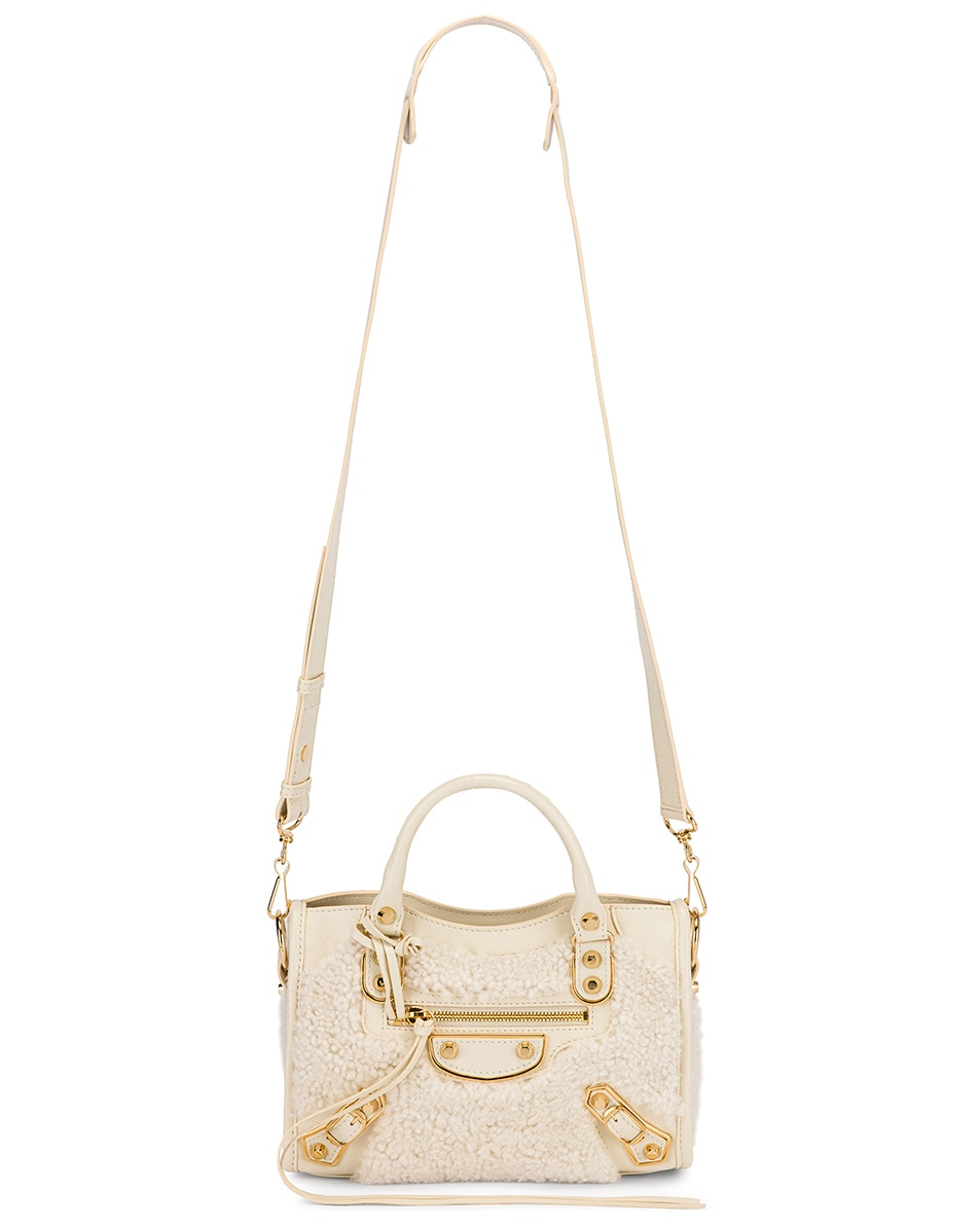 Image 6 of Balenciaga Mini Shearling & Leather City Bag in Cream