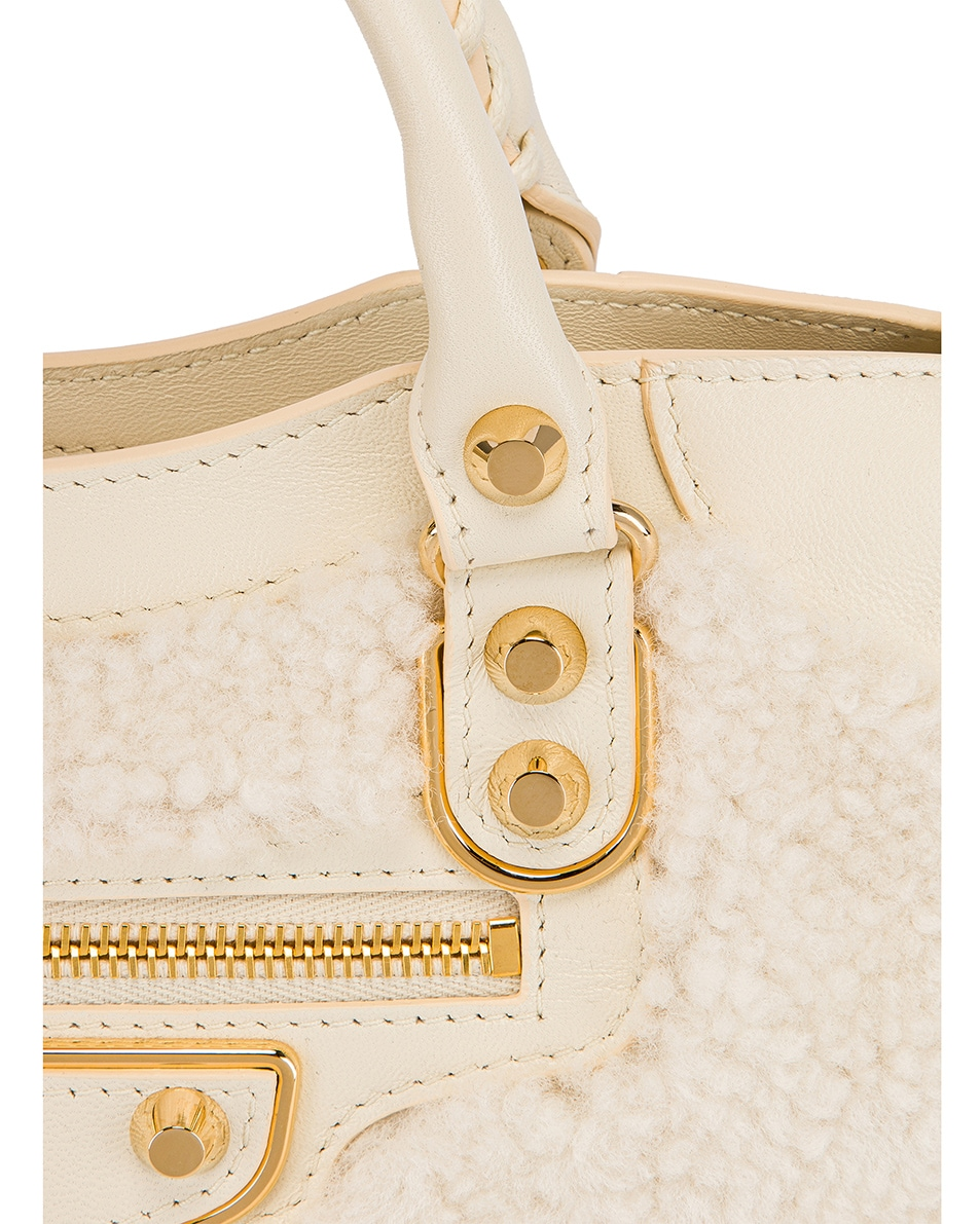 Image 8 of Balenciaga Mini Shearling & Leather City Bag in Cream