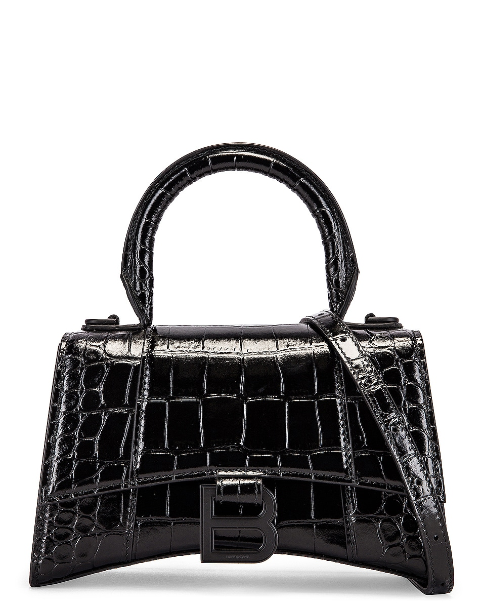 Image 1 of Balenciaga XS Embossed Croc Hourglass Top Handle Bag in Black