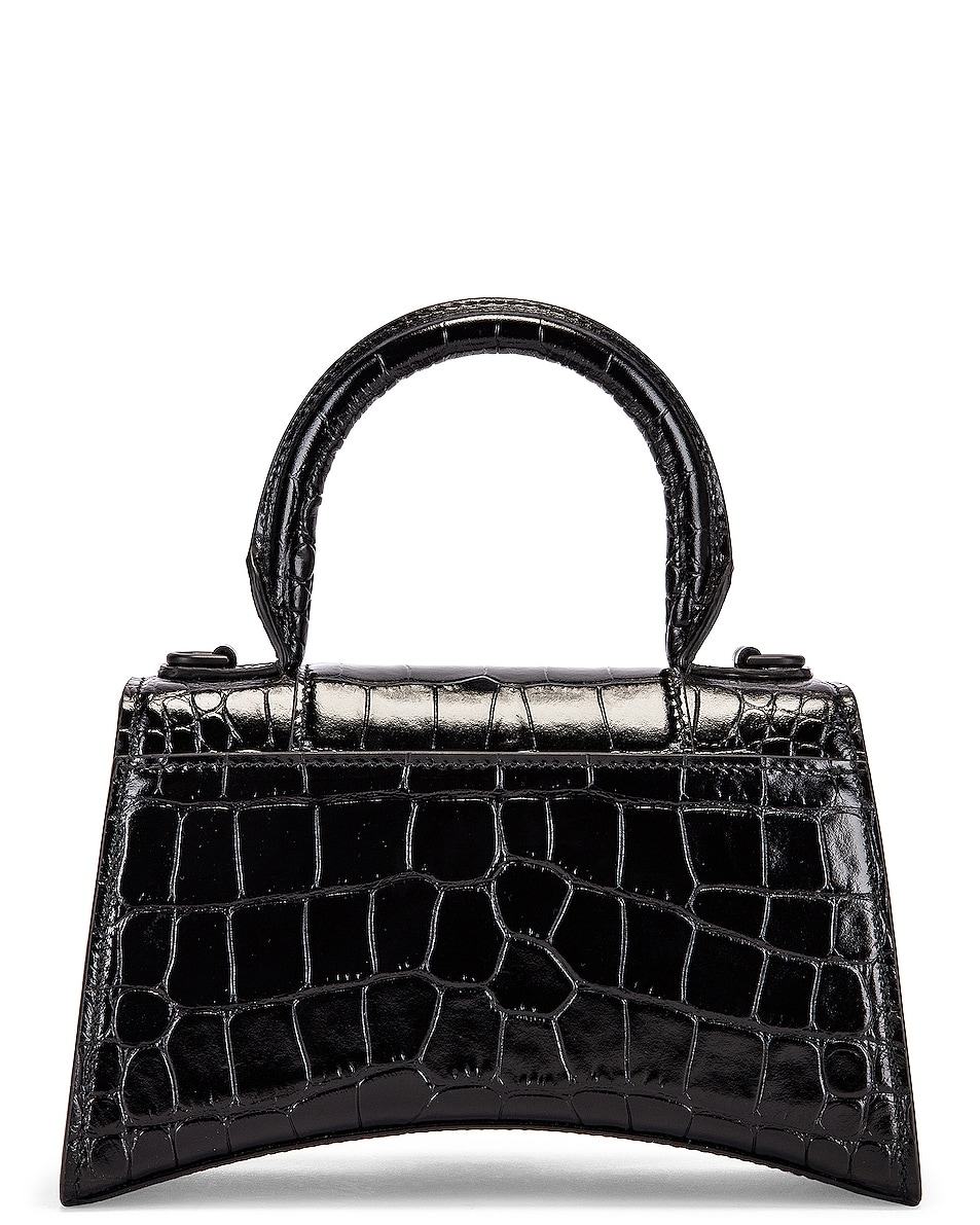 Image 3 of Balenciaga XS Embossed Croc Hourglass Top Handle Bag in Black