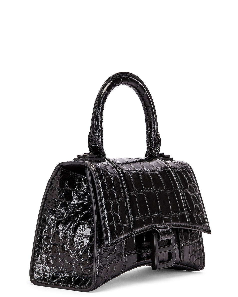 Image 4 of Balenciaga XS Embossed Croc Hourglass Top Handle Bag in Black