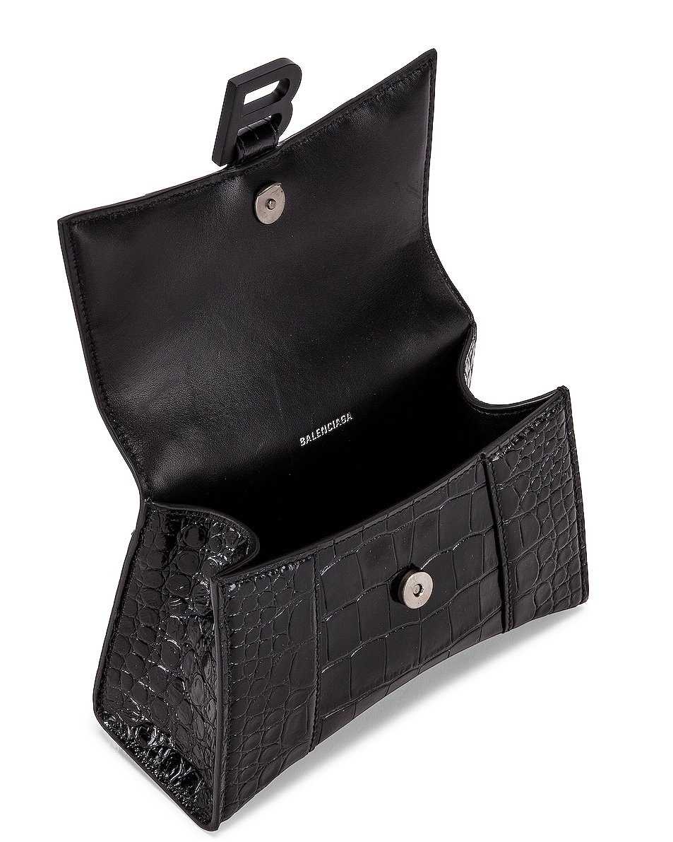 Image 5 of Balenciaga XS Embossed Croc Hourglass Top Handle Bag in Black