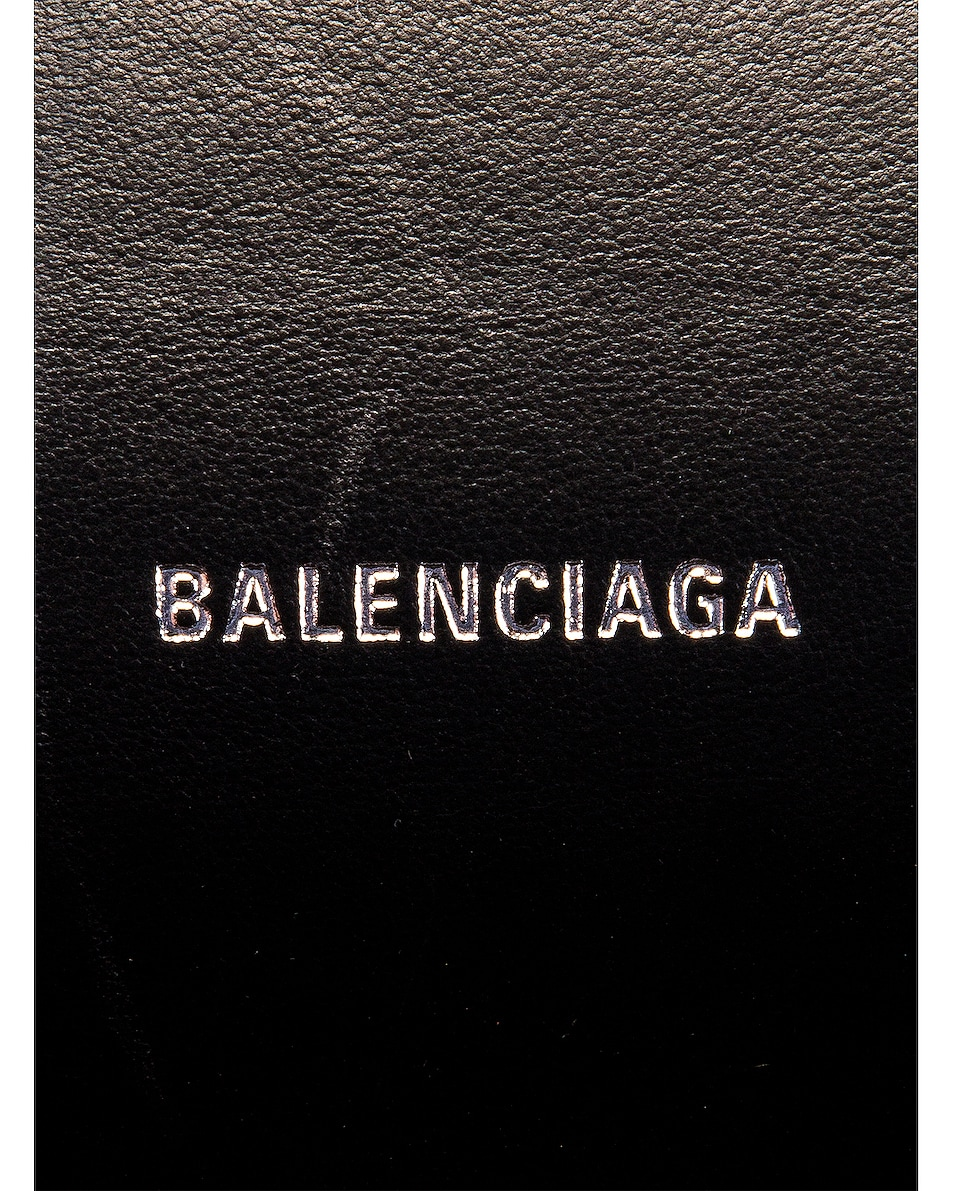 Image 7 of Balenciaga XS Embossed Croc Hourglass Top Handle Bag in Black