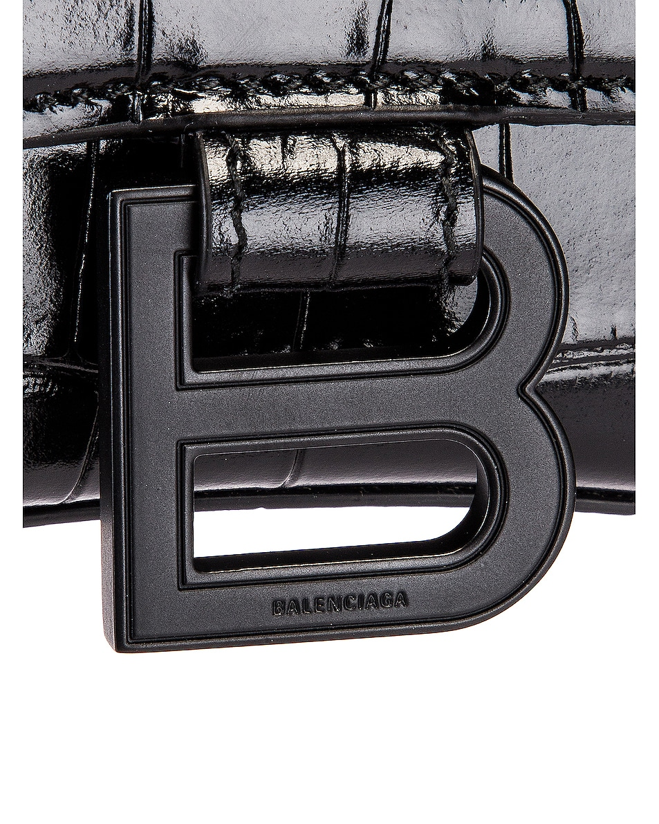 Image 8 of Balenciaga XS Embossed Croc Hourglass Top Handle Bag in Black
