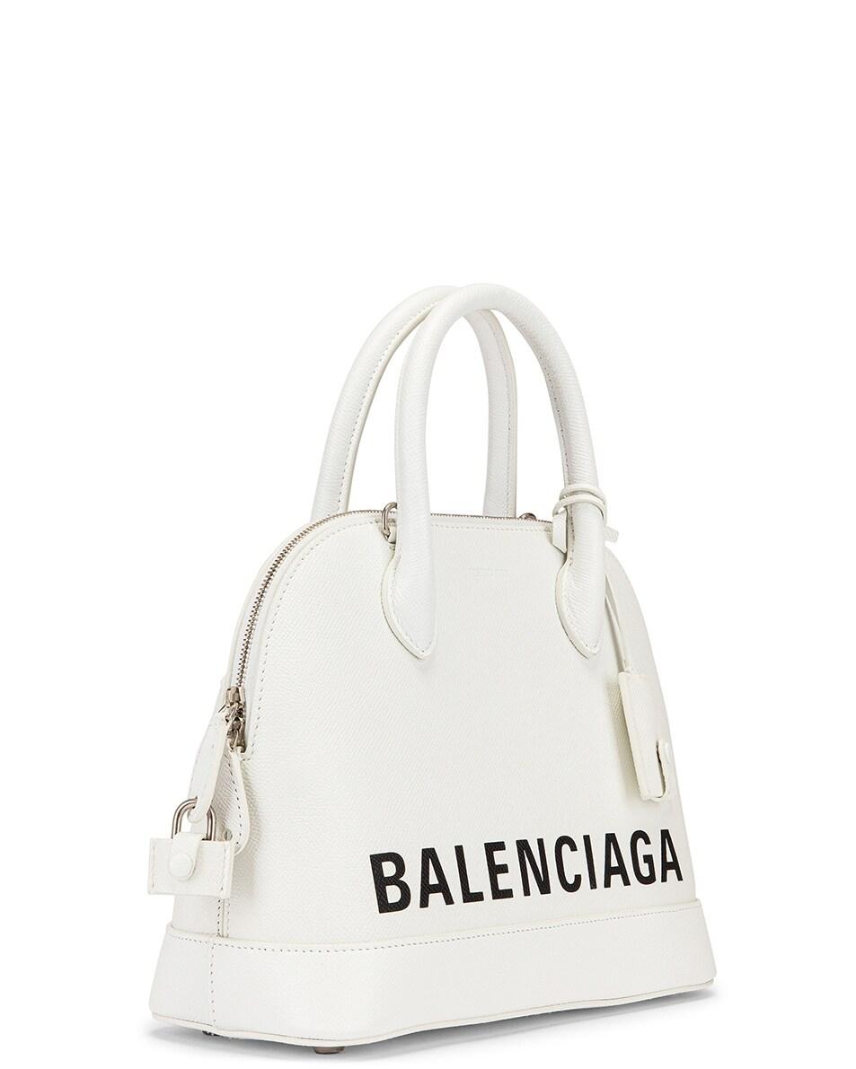 Image 4 of Balenciaga Small Ville Top Handle Bag in White & Black