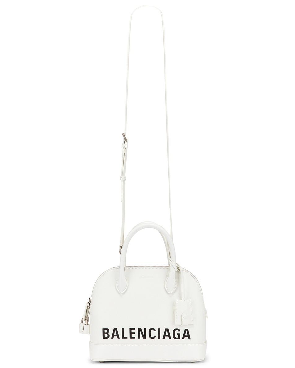Image 6 of Balenciaga Small Ville Top Handle Bag in White & Black