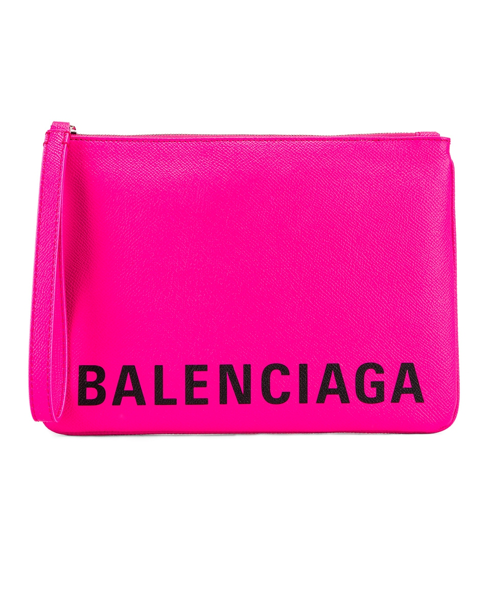 Image 1 of Balenciaga Cash Handle Pouch in Acid Fuchsia & Black