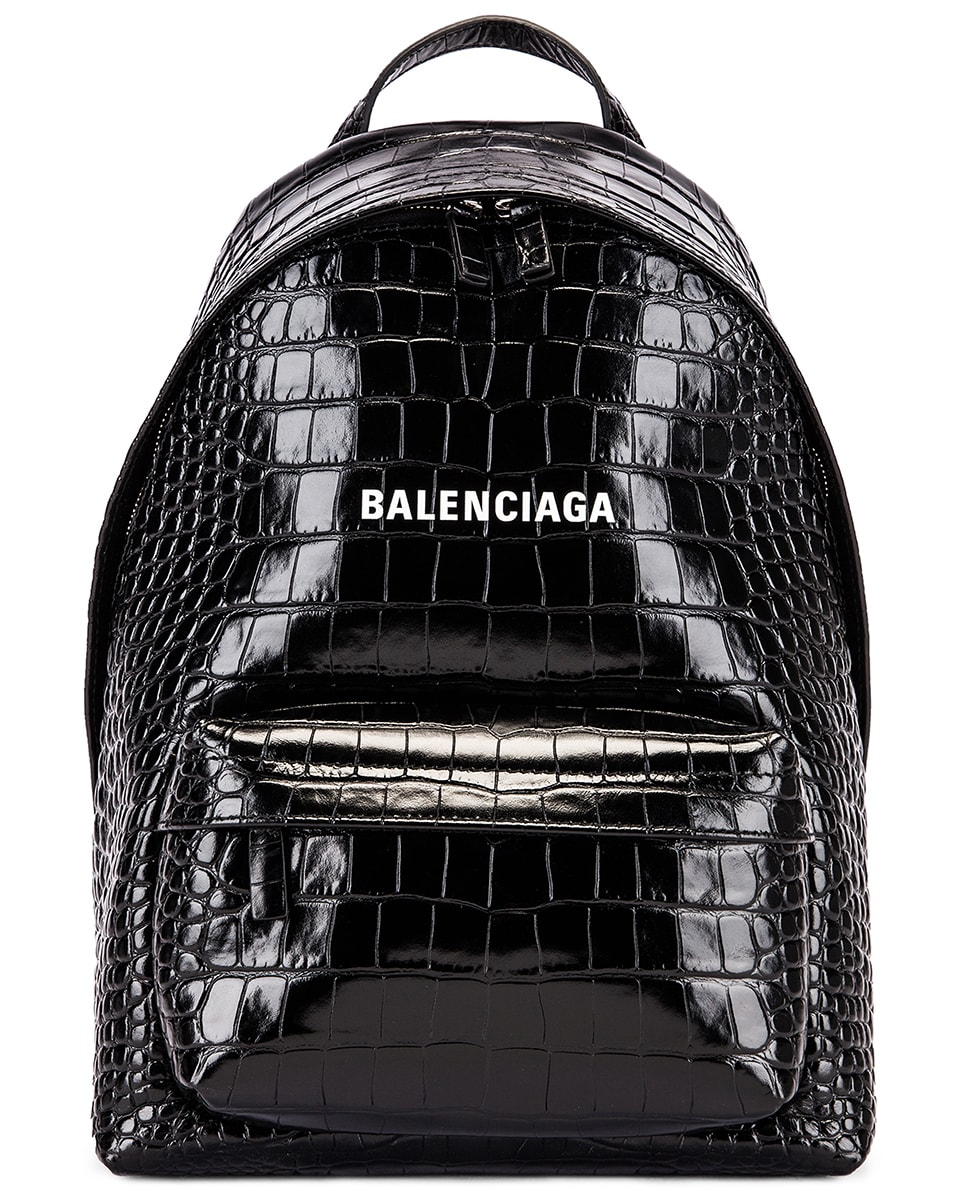 Image 1 of Balenciaga Small Embossed Croc Everyday Backpack in Black